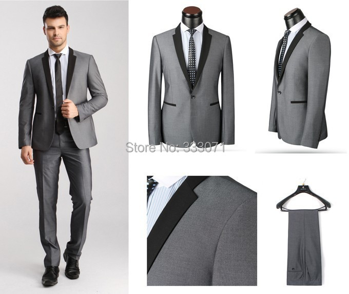 Latest Coat Pant Designs Groom Tuxedos Light Grey Black Best man ...