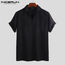 Shirt Men INCERUN Summer Short-Sleeve Button-Up Streetwear Solid-Color Casual Fashion
