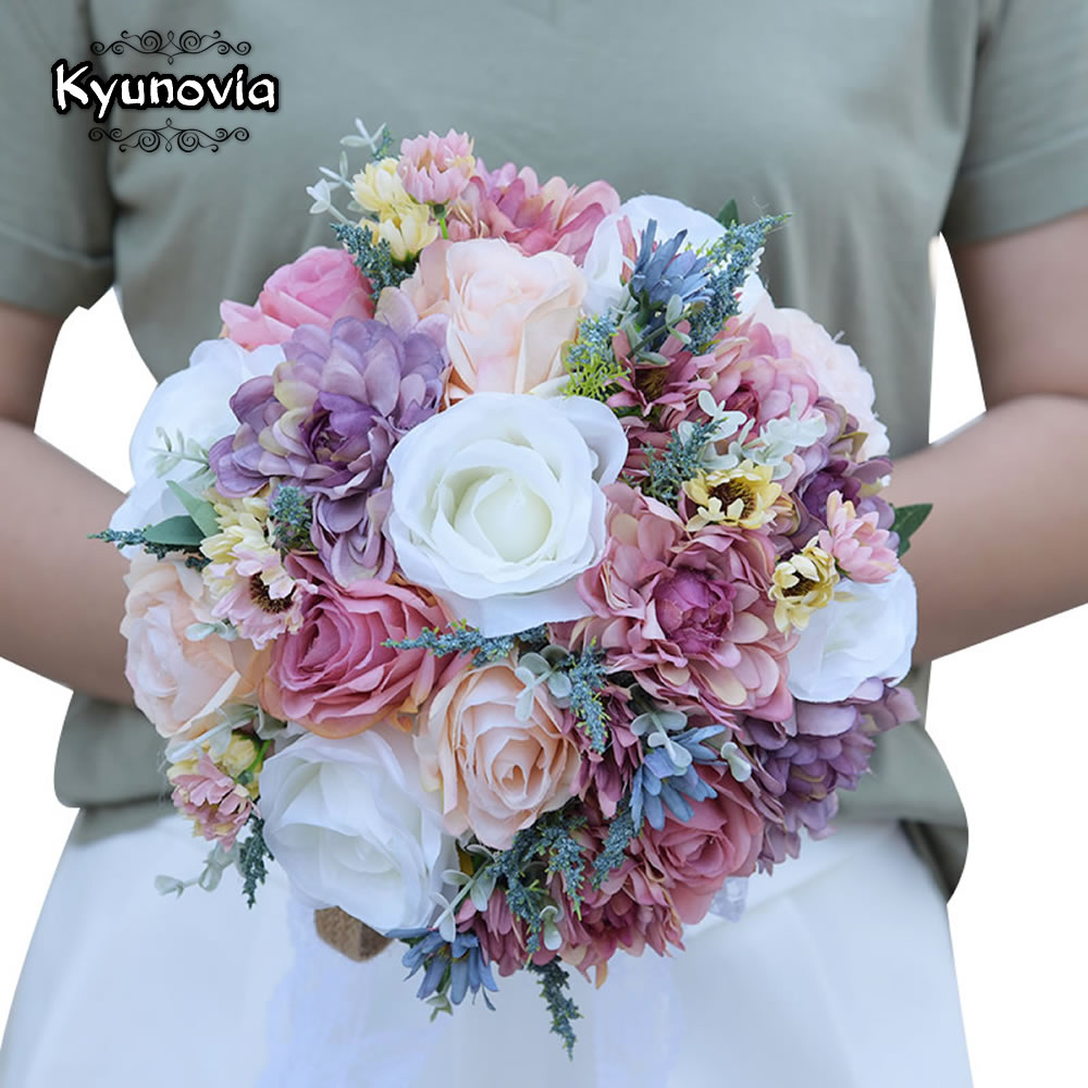 Aliexpress buy kyunovia vintage blue silk wild flowers bouquet aliexpress buy kyunovia vintage blue silk wild flowers bouquet for wedding plain color bridal bouquet wedding centerpieces home decoration fe81 from izmirmasajfo
