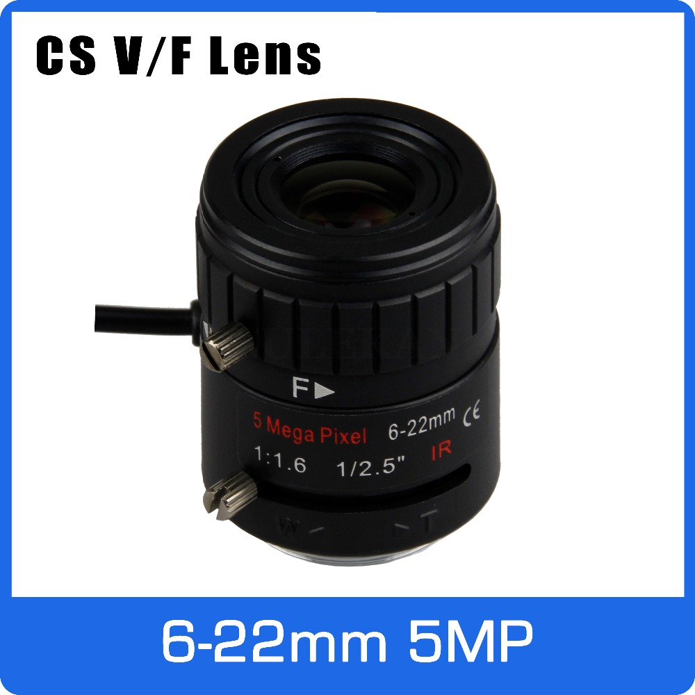 5Megapixel AUTO IRIS CS Varifocal CCTV Lens 6-22mm Long Distance View For 1080P 4MP 5MP Box Camera AHD/IP Camera Free Shipping new cctv lens 1 2 5 inch 6 22mm 5mp m12 mount varifocal lens f1 6 for 4mp 5mp cmos ccd sensor security ip ahd camera