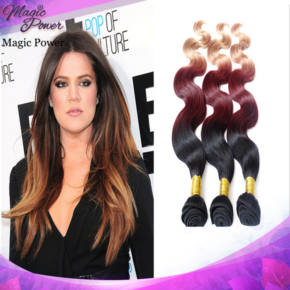 Shipping Free Body Wave Indian Hair Weave Ombre Hair Extensions 10