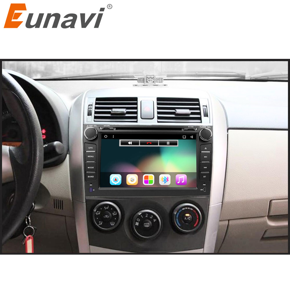 Eunavi 2 din Android 7.1 8.1 car dvd player gps for Toyota Corolla 2007 2008 2009 2010 2011 1024*600 screen 8'' car stereo radio klyde 8 2 din android 8 1 8 core car radio for toyota rav4 2013 2015 1024 600 car audio player