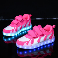 2019 New Size 28 40 USB Recharging Glowing Sneakers Luminous Children Boy&girl Shoes LED Sneakers Tennis Children Spring Summer