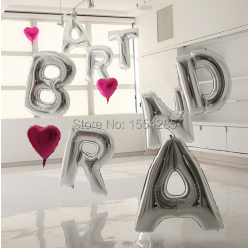 Big Silver Letters Pleasing 1 Piece 40''inch Big Silver Alphabet Letters Foil Balloons Wedding 2017