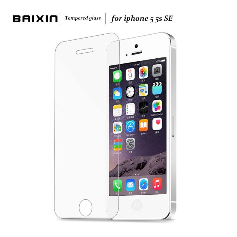 Baixin original 0,3mm 2.5d gehärtetem glas schirmschutz für iphone 5 5 S 5c SE HD Einscheiben-schutzfolie + Reinigung Kit