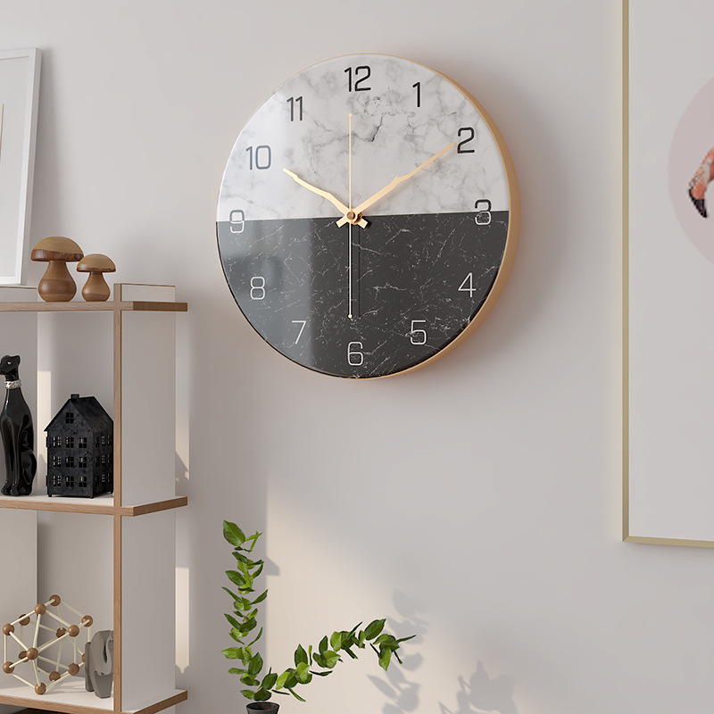 Nordic Creative Imitation Marble Wall Clock House Home Fashion Simple Wall Clock Modern Design Quartz Clock Clock On The Wall