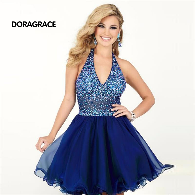New Fashion Halter Beaded Top Short   Cocktail     Dresses   Royal Blue Party   Dress   vestido de festa curto DGC011