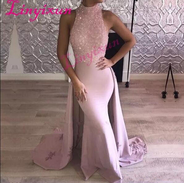 2018 robes de soirée sirène rose dentelle Appliques sans manches Figure-flatteur robes de bal avec perles longueur de plancher robe de tapis rouge