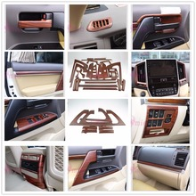 Interior Wooden Color Holder Handle AC Outlet Trim Panel LC 200 2016 2017 Car Styling For Toyota Land Cruiser 200 Accessories wooden color door holder handle ac outlet dashboard trim lc 200 car styling 2016 2017 for toyota land cruiser 200 accessories