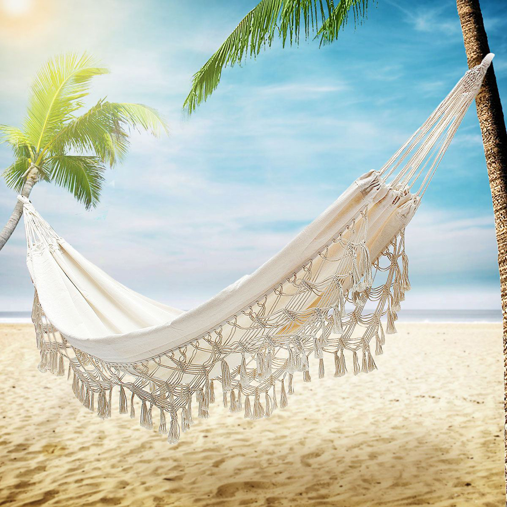 Mobilya'ten Hamaklar'de Dantel Açık Hamak Kamp Asılı yatak Salıncak Taşınabilir Sandalye Bej Romantik Yürüyüş Bahçe Uyku Salıncak title=
