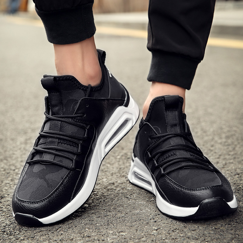 CNFIIA Mens Genuine Leather Shoes High Top Sneakers 2018 Autumn Male Casual Footwear Black White Luxury