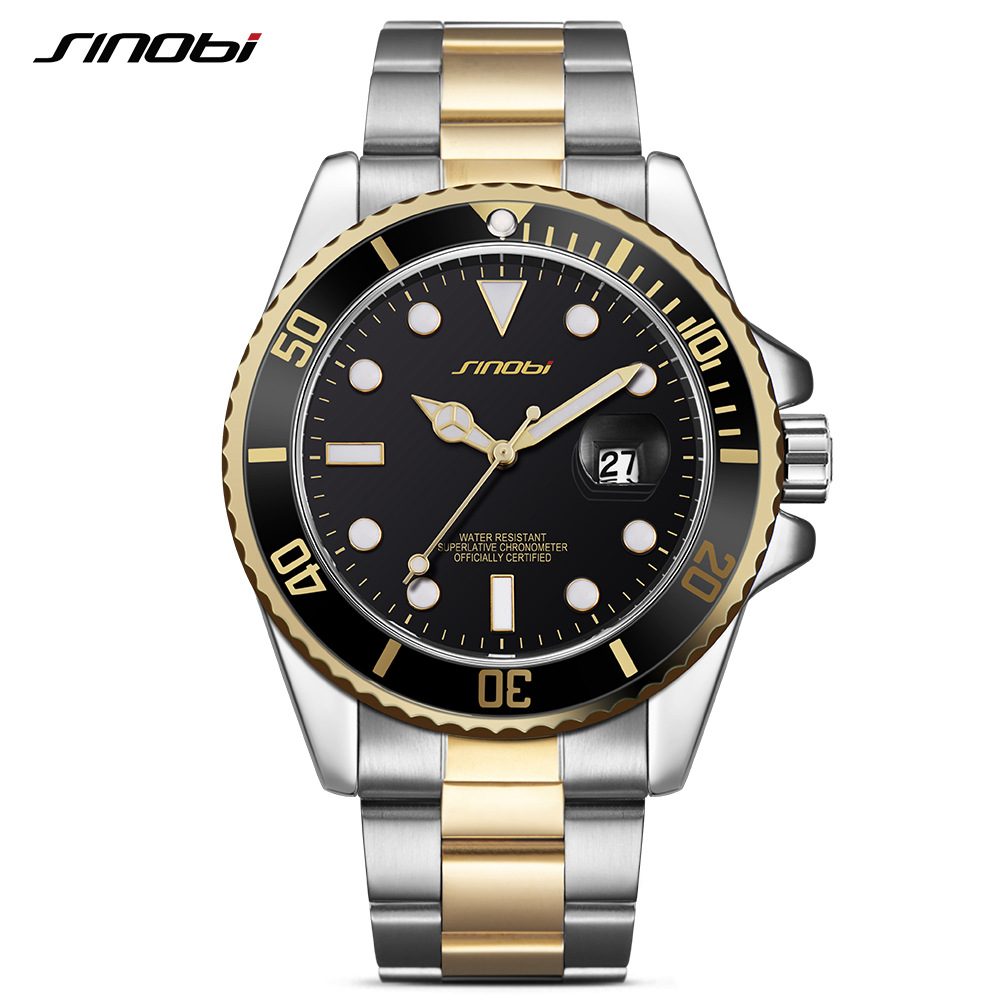 SINOBI Luxury Watch Men Rotatable Bezel GMT Stainless Steel Watches Waterproof Gold Mans Sports Quartz Watches Relogio Masculino luxury reginald watch men rotatable bezel gmt sapphire date gold stainless steel sport blue dial quartz watch reloj hombre