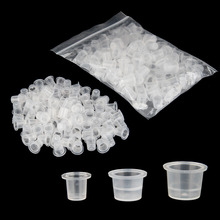 Free Shipping 100pcs Bag S M L Plastic Microblading Tattoo Ink Cap Cup Pigment Clear Holder