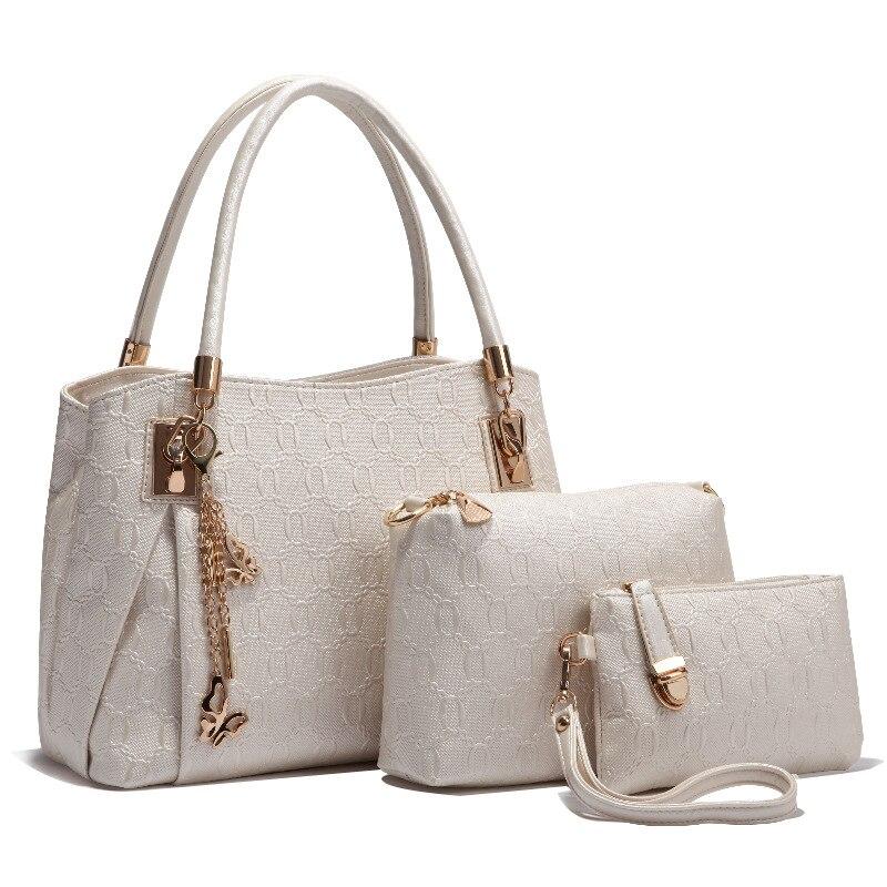 ФОТО 2017 3pcs/set Fashion Women Shoulder Bags Messenger Bag Clutch Bag PU Leather Composite Bags Woman Handbag Set