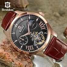 Bestdon Luxury Mechanical Men s Watch Automatic Skeleton Waterproof Luminous Leather Watches Switzerland Top Brand Wrist