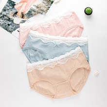 Wasteheart Fashion Cotton Blue Pink Skin Bow Mid Waist Panties Women Underwear Lingerie Briefs 3 Pieces Color Underpants