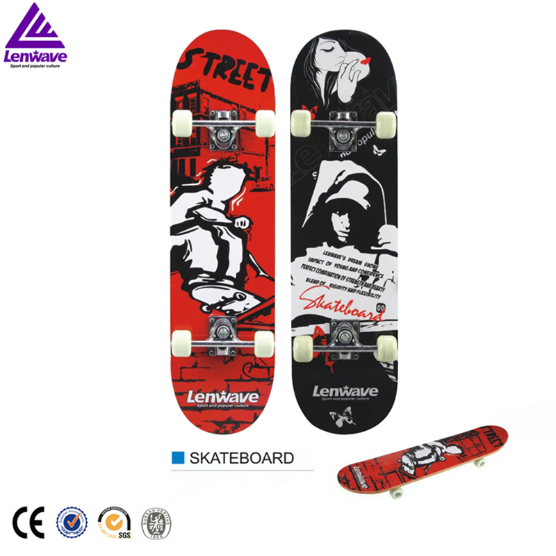 Lenwave Brand Four Wheels High Quality Maple Wood Skateboard High Speed Dual Dragon Skateboard Hip-hop Street Cool Style Skate