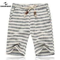 Men S Beach Shorts Popular Style 2016 Summer Comfortable Breathable Linen Shorts Joker Stripe TWT Leisure