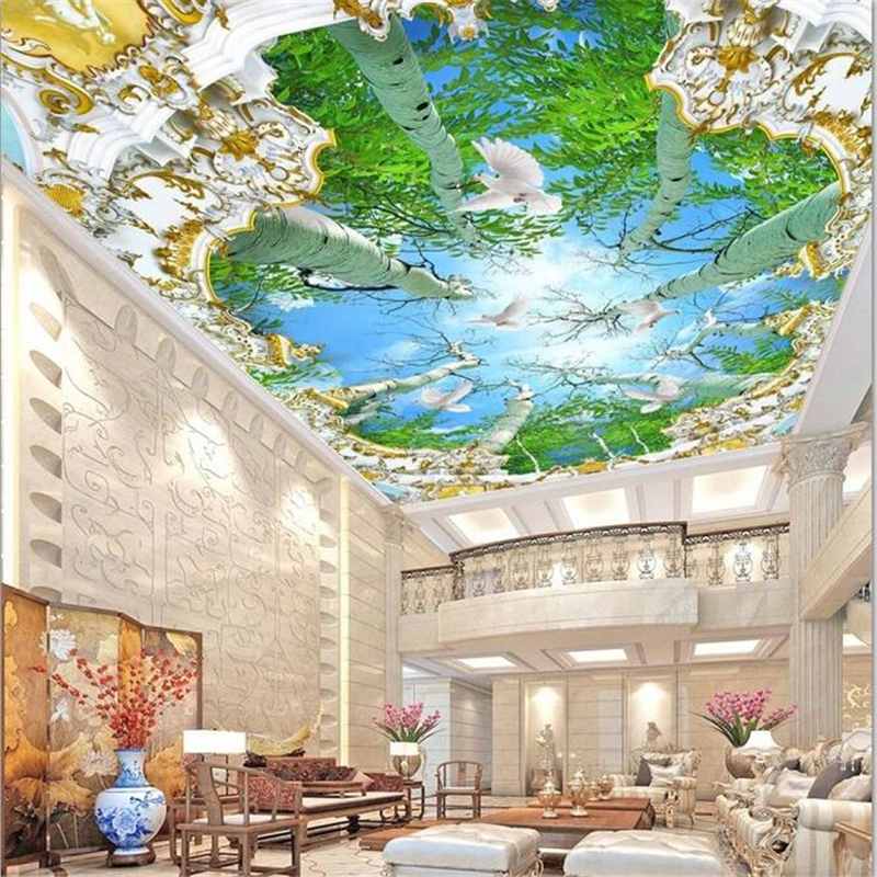 Wellyu Custom Large Fresco Wallpaper Large Tree Living Room Decoration Painting 3D обои Roof Ceiling Wallpaper Papel De Pared 3d