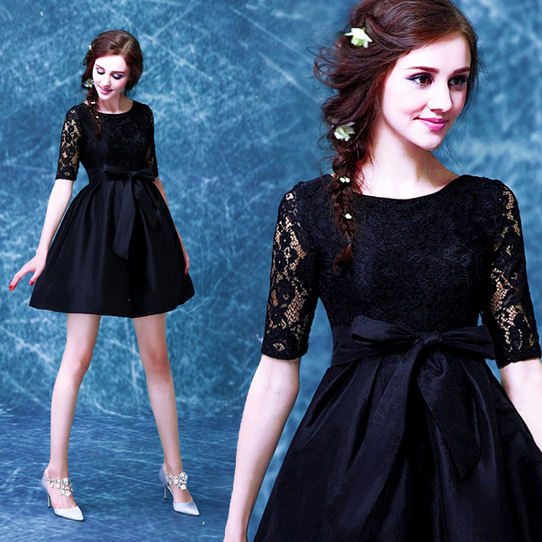 2017 new arrival stock maternity plus size bridal gown pregnant evening dress half sleeve sexy short a line Black Lace 8566