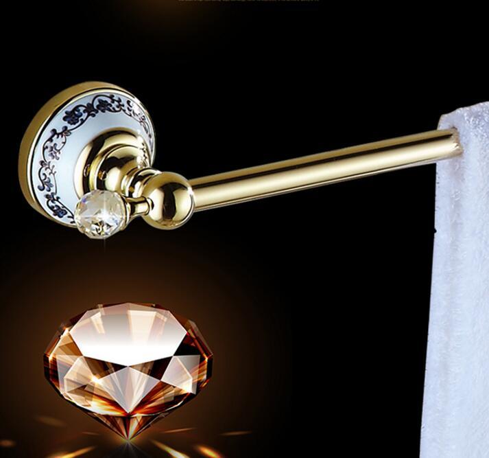 European Style Golden Crystal Solid Brass Towel Rail High Quality Single Towel Bar Bathroom Towel Holder Bathroom Accessories maideer high quality european style golden brass ceramic towel rack single towel bar bathroom accessories