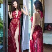 DaiDaiLuna Sexy Lingerie Women Lace Sexy Pajamas Deep V Sexy Night Gown Long Sexy Sleepwear Backless