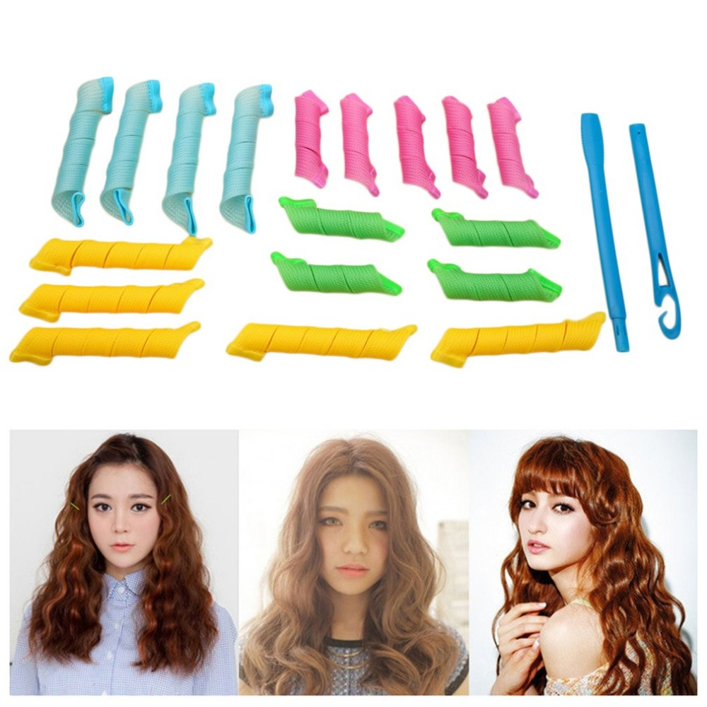 DIY 18pcs Hairstyle Roller Magic Hair Curlers Portable With 2pcs Hooks Sticks Durable Beauty Styling Makeup Tools