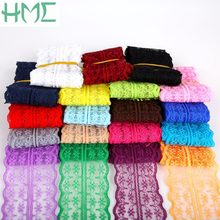 5 yards/lot Breedte 45mm 19 kleuren Lace Trim Stof Geborduurd Netto DIY Kledingstuk Accessoires, naaien Zwitserse Trim Wedding Kant Materiaal(China)