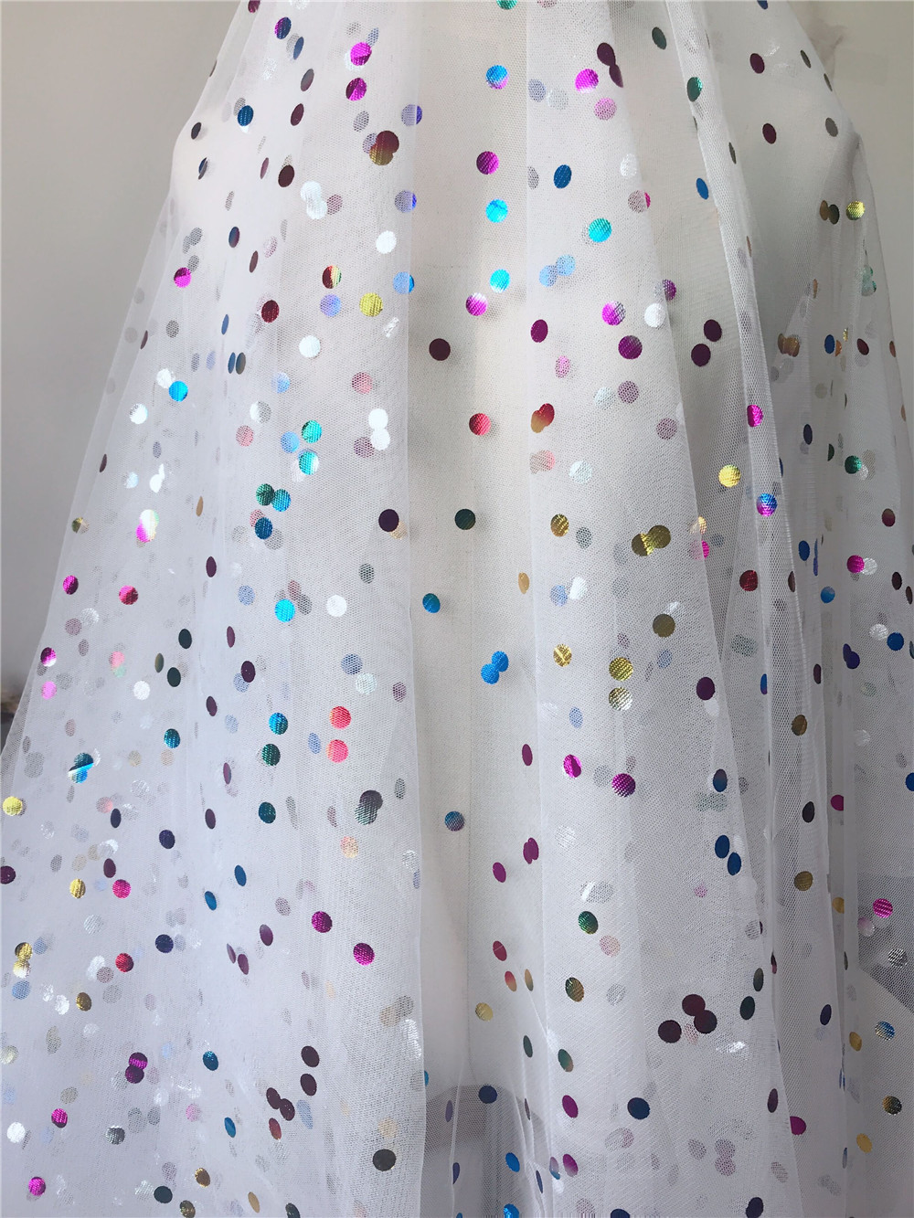 3 Yards Beautiful Colorful Tulle Mesh Lace Fabric Polka Dot Gauze Fabric For Girls Prom Dress Tutu dress Wedding Party Decor in Fabric from Home Garden