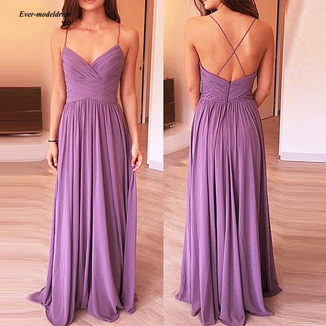 2019 Long   Bridesmaid     Dresses   Chiffon A Line Spaghetti Straps Formal Wedding Guest Party Gowns Criss Cross Back Custom Made Cheap