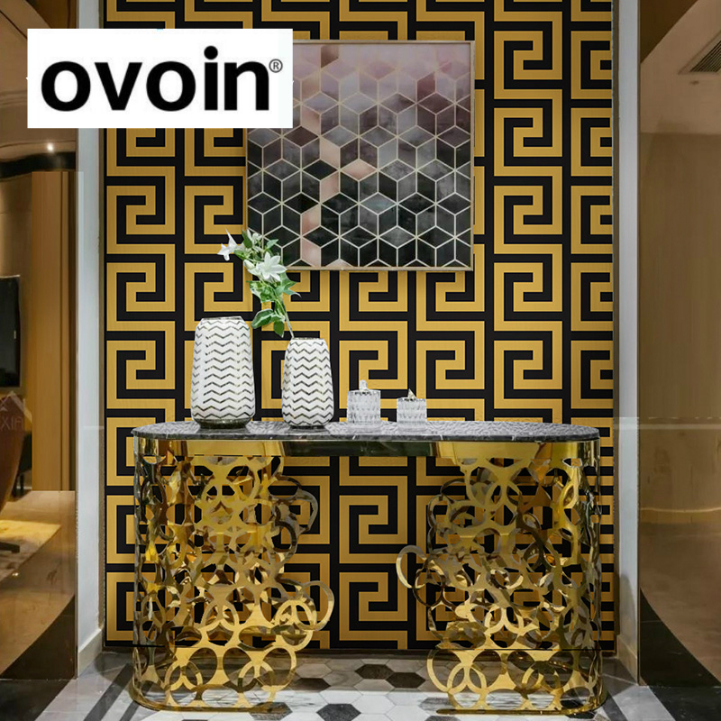 Gold Black Geometric Design Wallpaper