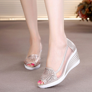 Image 2 - Women Sandals Breathable Mesh Cut out Wedges Summer Shoes Woman Platform Sandals Open Toe Slip On Bling Sandalias Mujer SH031501