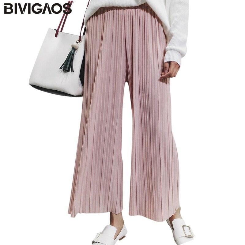 2018 New Spring Summer Womens Mode Dünne Chiffon Hose mit Weiten Beinen  Gefaltete Elastische Hohe Taille Gestellte Hosen Beiläufige Lose Hosen 7d90a00a80