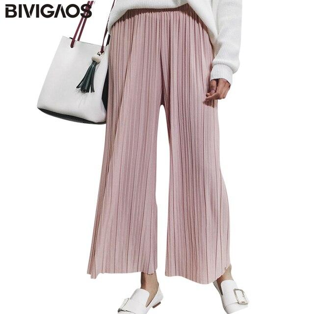 ddbd49f725 2018 nueva primavera verano moda Pantalones de pierna ancha de la gasa  delgada plisada elástica de