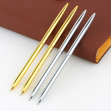 Mont Boligrafos Slim Light Gold And Silver Color Rotating Ballpoint Pen Slender Commercial Metal Oily Gift Free Shippin
