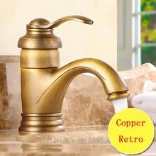 Купить с кэшбэком Retro teapot style toilet basin faucet vintage, Copper bathroom basin faucet hot and cold, Antique brass kitchen basin faucet