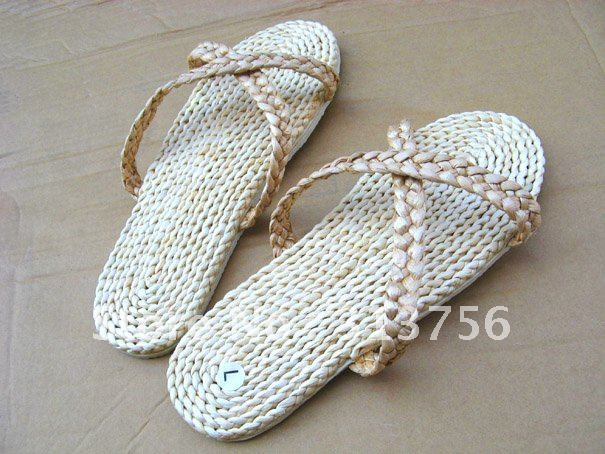 FREE SHIPPING!!! WHOLESALE OUTDOOR BEACH STRAW SLIPPERS WITH EVA SOLE