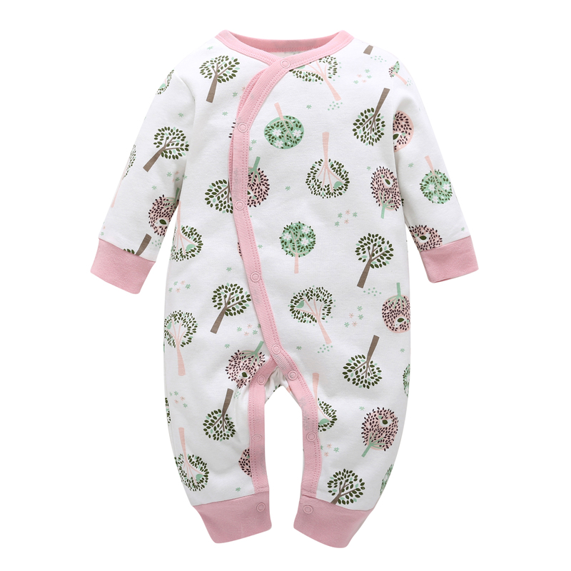 newbron baby girls one-piece Long sleeve romper cotton o-neck single breasted 2018 winter new style clothing for baby girl 0-24m