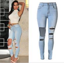 Отверстие ноги штаны большой размер женщин джинсы брюки Нищих носить низкой талии Тонкий стрейч джинсовые брюки ноги личность big hole
