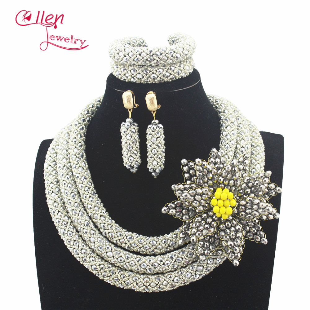 Silver Plated Stylish Nigerian Wedding African Beads Jewelry Set Handmade Indian Bridal Necklace Sets Bracelet Earrings N0013 stylish five flowers silver plated necklace page 5