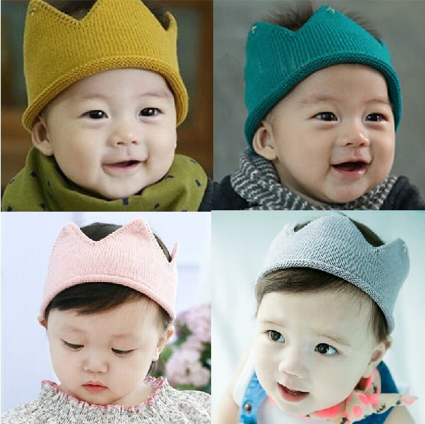 Korean children crown baby knitting wool hats for gril boy and empty ...