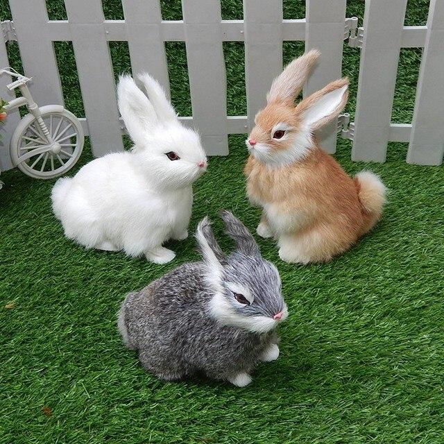 Mini conejo de imitación realista de 15CM, conejo de peluche blanco de piel realista, conejo de imitación, modelo de juguete, regalo de cumpleaños