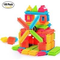 150pcs Bristle Shape 3D Building Blocks Tiles Construction Playboards Toddlers Kids Toys For Children Educational Development