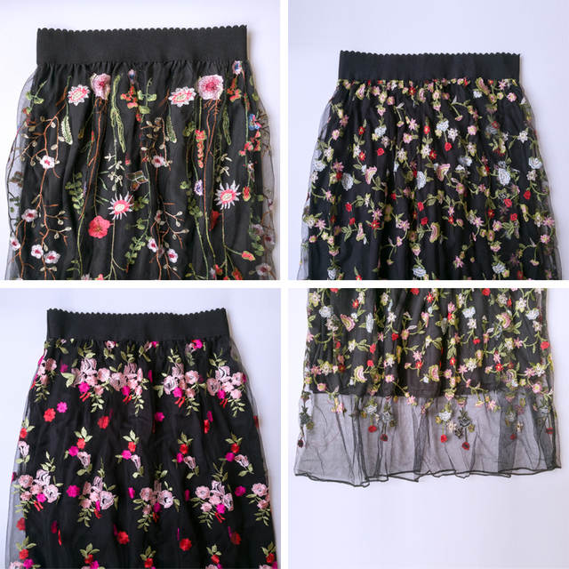 4e54b0e28 € 8.56 50% de DESCUENTO|Flectit mujeres Vintage largo negro Falda Mujer  Casual ver A través de Floral malla bordado falda elegante Midi una línea  ...