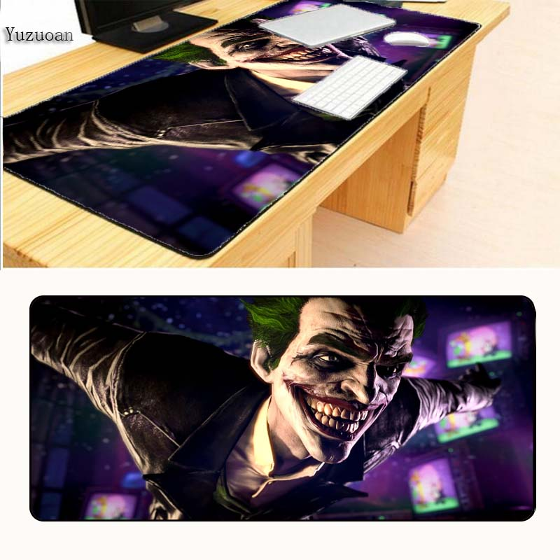 Yuzuoan Hot Batman Joker Gaming Game keyboard Mouse Mats Large Lock Edge Pad For CSGO DOTA 2 Boys Gift Drop Shipping 400X900X3Mm