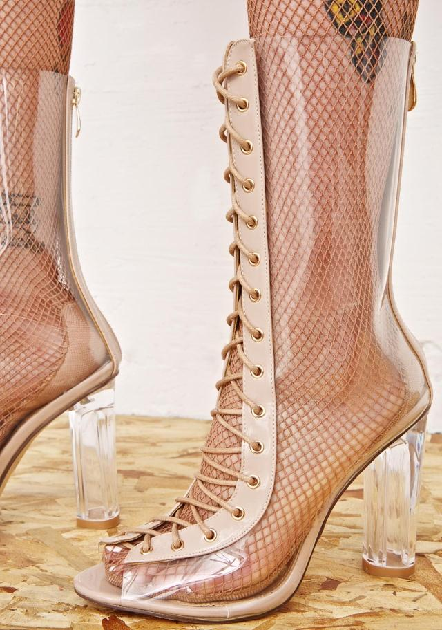 PVC Spring Autumn Party Dress Shoes Women Peep Toe Transparent Heel Botas Mujer 2017 Top Selling Cut-outs Lace Up Mid-calf Boots
