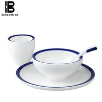 4 Pcs Set Simple Modern Hotel Kitchen Dinnerware Accessories 1 Person Dinner Set Creative Tableware Ceramic Mug Spoon Plate Bowl