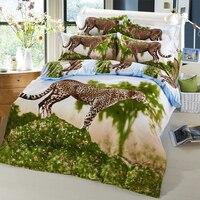 Arnigu Leopard 3D животных постельного белья Queen размер Постельное белье Покрывало хлопок 4 шт. постельное белье одеяло/Стёганое одеяло крышкой пло...
