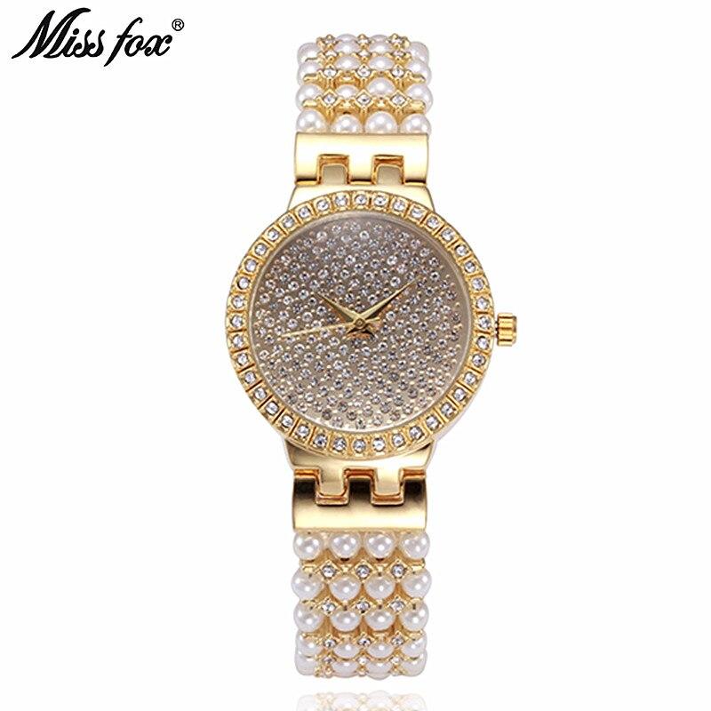La señorita Reloj de zorro de lujo de las mujeres Reloj Mujer Acero inoxidable Acero de diamantes Reloj de cuarzo de señoras mujeres Rhinestone relojes hodinky saat
