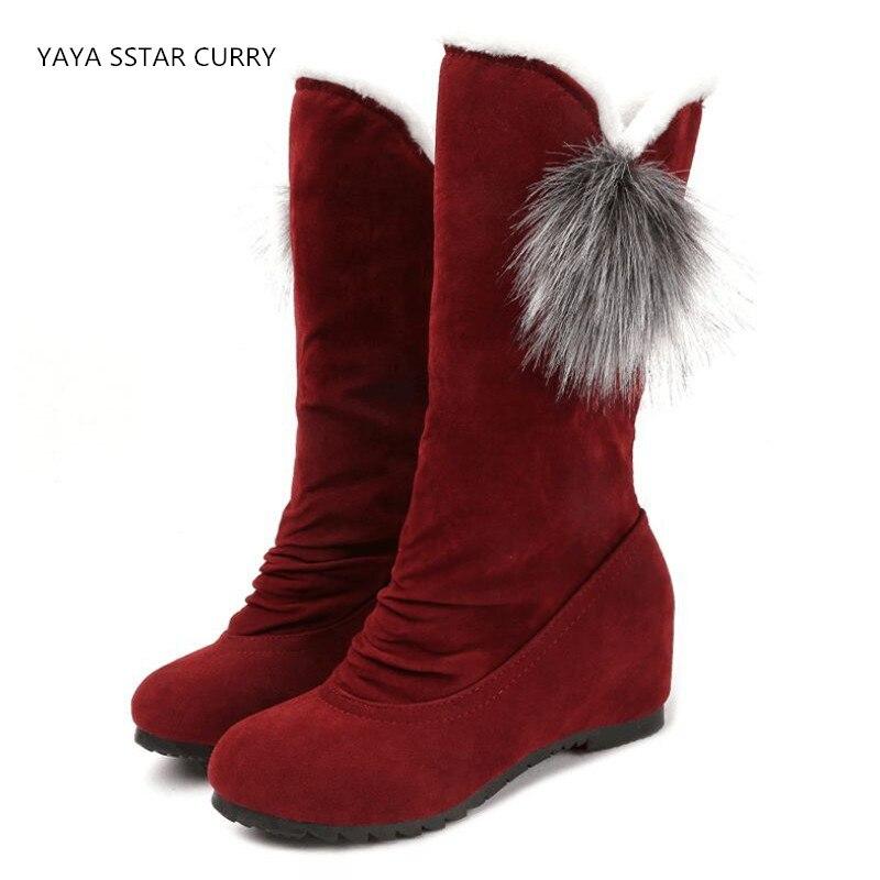 SSTAR 2018 осень и зима в середине новые плоскодонные склон с увеличением в обувь с плюшевой подкладкой зимние прогулочная обувь